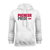 White Fleece Hoodie-Pioneer Pride