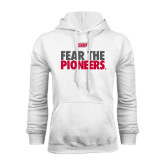 White Fleece Hoodie-Fear The Pioneers