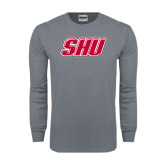 Charcoal Long Sleeve T Shirt-Primary Logo Distressed