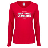 Ladies Red Long Sleeve V Neck Tee-2018 Womens Hockey Champions