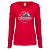 Ladies Red Long Sleeve V Neck Tee-2018 NEC Football Champions