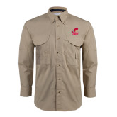 Khaki Long Sleeve Performance Fishing Shirt-Secondary Logo