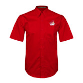 Red Twill Button Down Short Sleeve-Secondary Logo