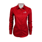 Ladies Red Twill Button Down Long Sleeve-Pioneers w/ Pioneer