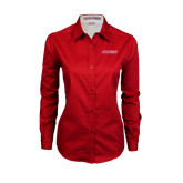 Ladies Red Twill Button Down Long Sleeve-Pioneers