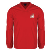 V Neck Red Raglan Windshirt-Secondary Logo