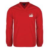 V Neck Red Raglan Windshirt-Secondary Logo
