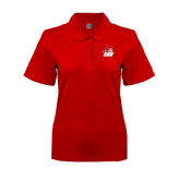 Ladies Easycare Red Pique Polo-Secondary Logo
