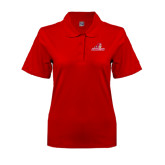 Ladies Easycare Red Pique Polo-Pioneers w/ Pioneer
