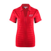 Ladies Red Horizontal Textured Polo-Primary Logo