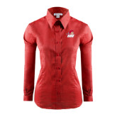 Ladies Red House Red Long Sleeve Shirt-Secondary Logo