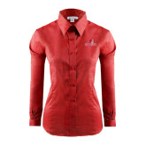 Ladies Red House Red Long Sleeve Shirt-Pioneers w/ Pioneer