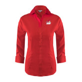 Ladies Red House Red 3/4 Sleeve Shirt-Secondary Logo