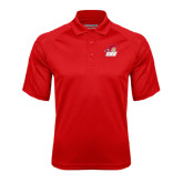 Red Textured Saddle Shoulder Polo-Secondary Logo
