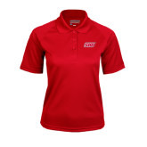 Ladies Red Textured Saddle Shoulder Polo-Primary Logo