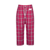 Ladies Dark Fuchsia/White Flannel Pajama Pant-Primary Logo