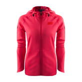 Ladies Tech Fleece Full Zip Hot Pink Hooded Jacket-Primary Logo
