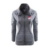Ladies Sport Wick Stretch Full Zip Charcoal Jacket-Secondary Logo