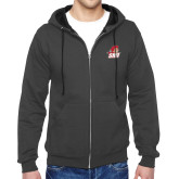 Charcoal Fleece Full Zip Hoodie-Secondary Logo
