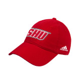 Adidas Red Slouch Unstructured Low Profile Hat-Primary Logo