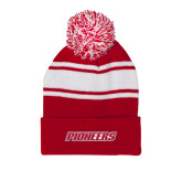 Red/White Two Tone Knit Pom Beanie with Cuff-Pioneers