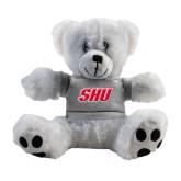 Plush Big Paw 8 1/2 inch White Bear w/Grey Shirt-Primary Logo