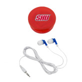 Ear Buds in Red Case-Primary Logo