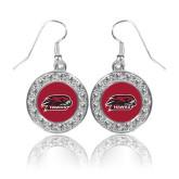 Crystal Studded Round Pendant Silver Dangle Earrings-Hawk Head w/ Hawks