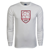 White Long Sleeve T Shirt-Soccer Shield Design