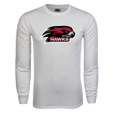 White Long Sleeve T Shirt-Hawk Head w/ Hawks