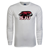 White Long Sleeve T Shirt-Hawk Head w/ SUJ