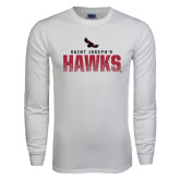 White Long Sleeve T Shirt-Saint Josephs Hawks Splash