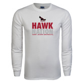 White Long Sleeve T Shirt-Hawk Nation