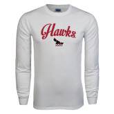 White Long Sleeve T Shirt-Scripted Hawks