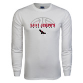 White Long Sleeve T Shirt-Basketball Half Ball Design