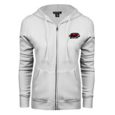 ENZA Ladies White Fleece Full Zip Hoodie-Hawk Head w/ Hawks