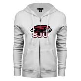 ENZA Ladies White Fleece Full Zip Hoodie-Hawk Head w/ SUJ