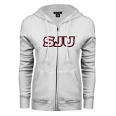 ENZA Ladies White Fleece Full Zip Hoodie-SJU