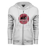 ENZA Ladies White Fleece Full Zip Hoodie-Saint Josephs University Circle