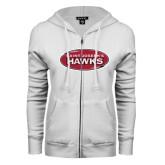 ENZA Ladies White Fleece Full Zip Hoodie-Saint Josephs Hawks