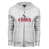 ENZA Ladies White Fleece Full Zip Hoodie-Saint Josephs Hawks Splash