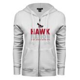 ENZA Ladies White Fleece Full Zip Hoodie-Hawk Nation