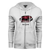 ENZA Ladies White Fleece Full Zip Hoodie-Mom