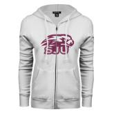 ENZA Ladies White Fleece Full Zip Hoodie-Hawk Head w/ SUJ Glitter