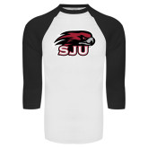 White/Black Raglan Baseball T-Shirt-Hawk Head w/ SJU