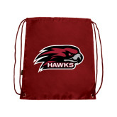 Cardinal Drawstring Backpack-Hawk Head w/ Hawks