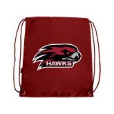 Nylon Cardinal Drawstring Backpack-Hawk Head w/ Hawks