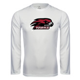 Performance White Longsleeve Shirt-Hawk Head w/ Hawks