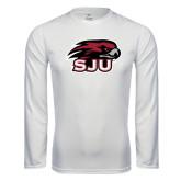 Performance White Longsleeve Shirt-Hawk Head w/ SJU