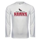 Performance White Longsleeve Shirt-Saint Josephs Hawks Splash
